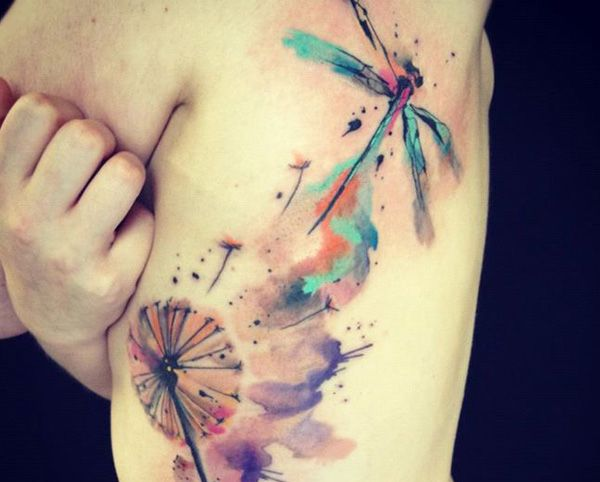 Dandelion and Dragonfly Watercolor Tattoo  -  Shoulder and Upper Arm