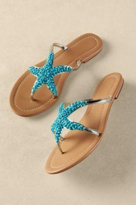 Sealife Sandals - Beaded Thong Sandal, Best Sandal For Summer, Starfish Sandal | Soft Surroundings