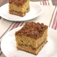 This delicious coffee cake is swirled and topped with a sweet caramel crumb that's absolutely fantastic!