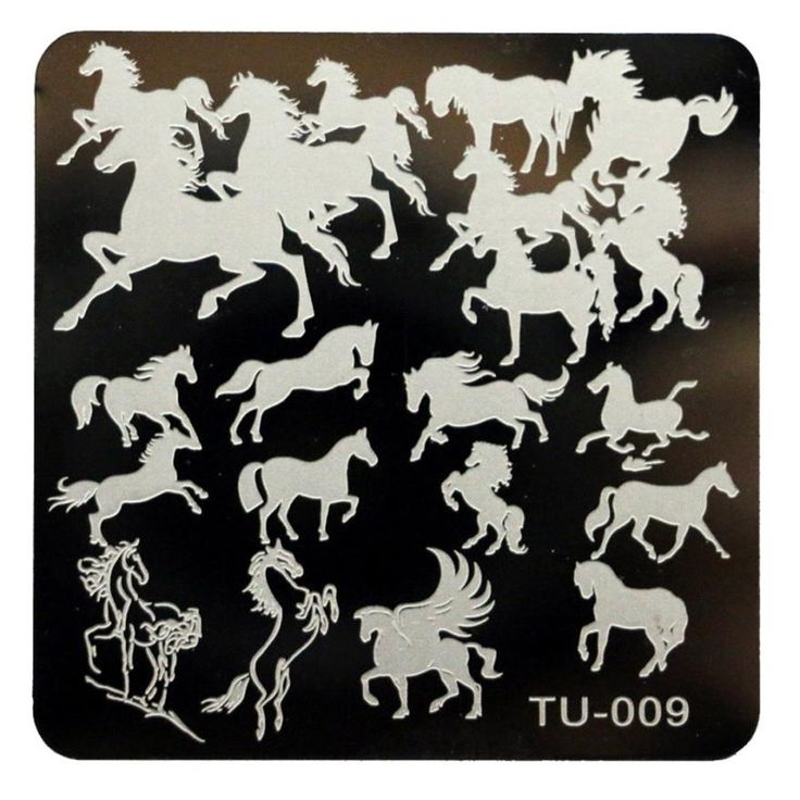 Newly Design Authorized Horse Pattern DIY Nail Art Stamping Plates Stainless Steel Template  160329