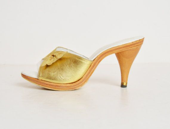 Vintage 1970s Gold Leather High Heel Mules / 70s High Heel Slide Sandals Wood Heels