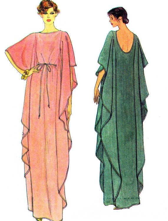 1970s Caftan Pattern Vogue 7251 Womens Long Caftan with Lowcut Back Evening Gown…