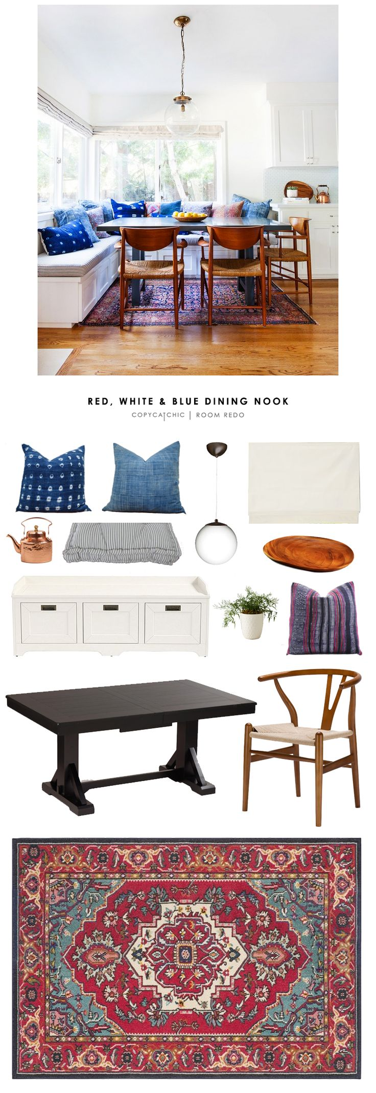 Copy cat chic room redo red white and blue dining nook for How to redo your room for cheap