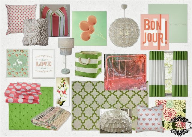 Coral Bow {coral and kelly green girl's room}, big girl room, coral polka dot pillow, Bon Jour print