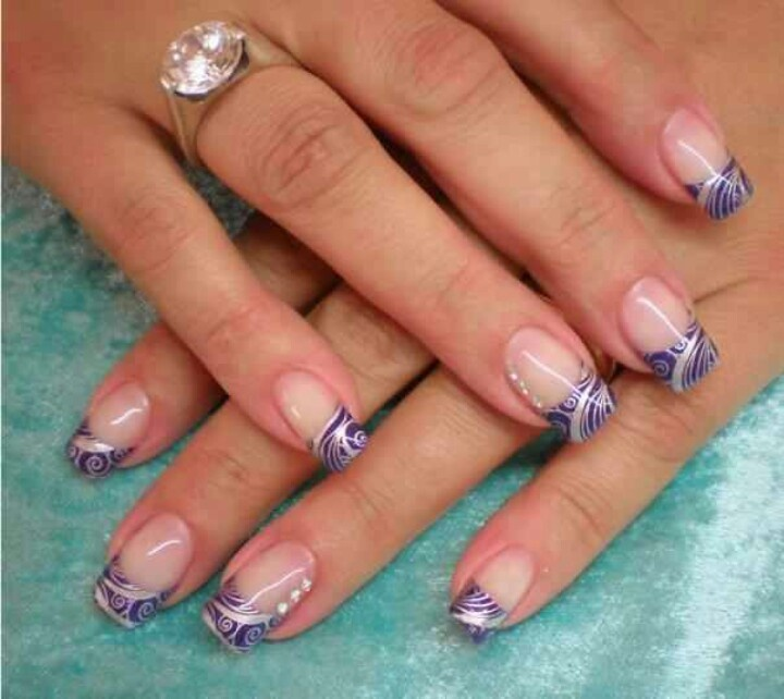 Silver Nail Art Designs: Purple Tips W Silver Stamp Nail Design