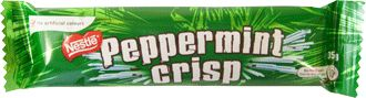 Peppermint Crisp is a milk chocolate bar filled with a multitude of thin cylinders of mint-flavoured toffee. Invented in South Africa by Wilson-Rowntree, it is now produced by Nestlé. The Peppermint Crisp is sold within Australia and South Africa as a 35 gram bar. It is common for children to bite off both ends of the bar and use the series of mint tubes as a straw to drink milk.