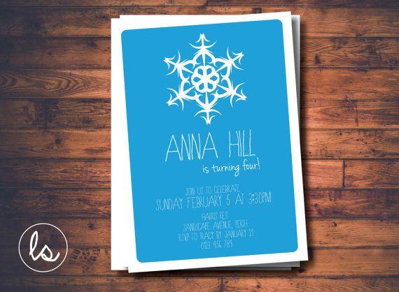 DIY PRINTABLE ~ Frozen Snowflake Invitation ~ Winter Birthday Invitation ~ Snowflake Invitation ~ Birthday Invitation ~ Printed Invitations