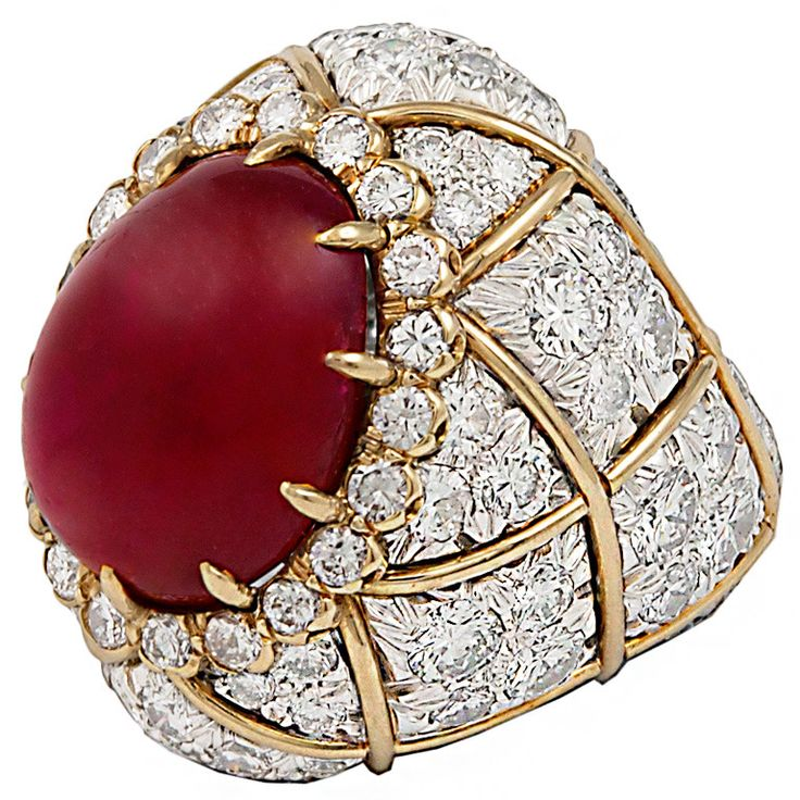 DAVID WEBB Two Tone Cabochon Ruby Diamond Ring | From a unique collection of vintage dome rings at http://www.1stdibs.com/jewelry/rings/dome-rings/