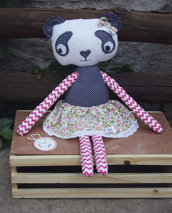 Pamela Panda Bear Plush Ballerina Handmade by TulipDesignsShop