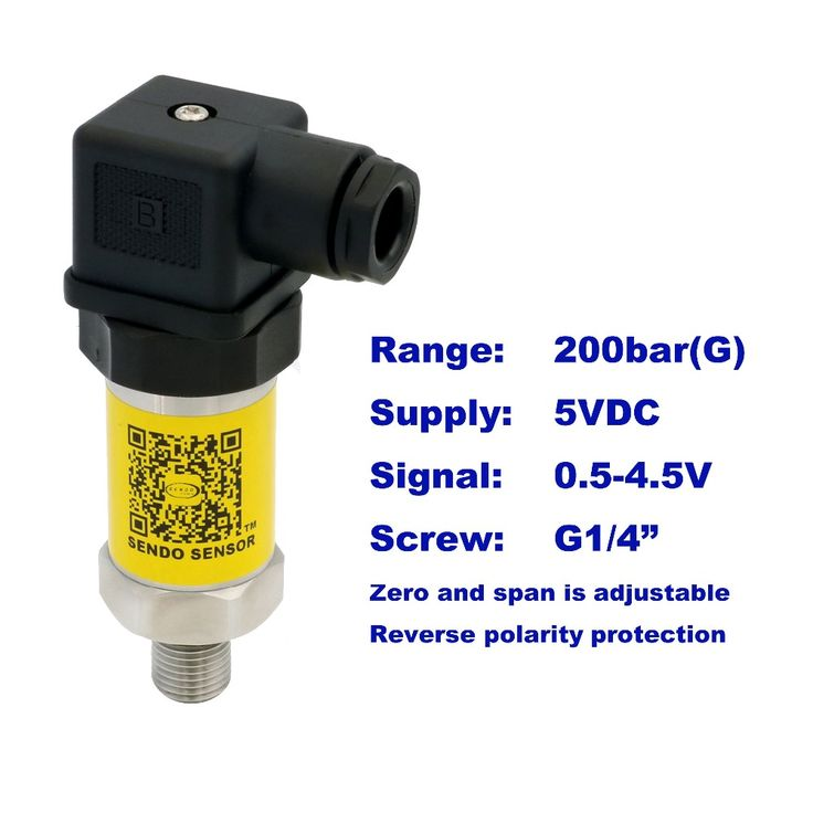 """0.5-4.5V pressure sensor, 5VDC supply, 20MPa/200bar gauge, G1/4"""", 0.5% accuracy, stainless steel 316L diaphragm, low cost"""