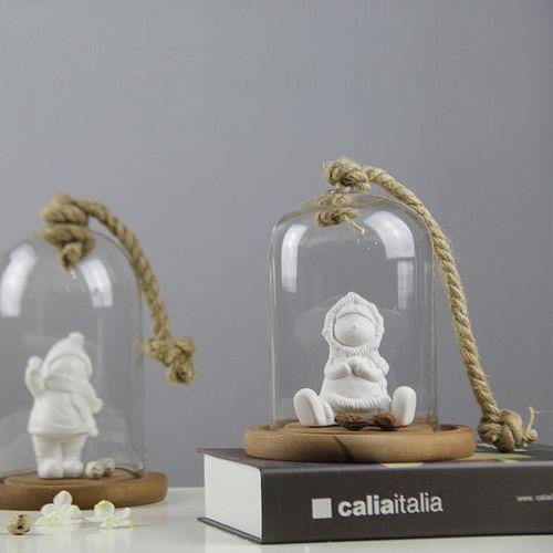 美式乡村 简约现代 原生态麻绳实木底座玻璃罩 新款外贸出口摆件-淘宝网