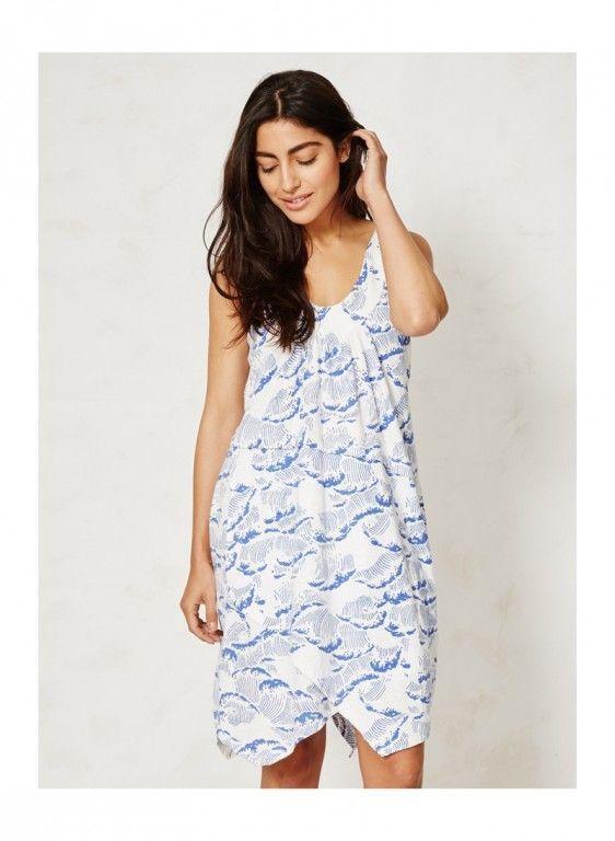NALU dámské letní šaty ze 100% biobavlny - modrý potisk - fair trade oblečení z biobavlny, bambusu, konopí, modalu, tencelu a merino, přírodní kosmetika, bambucké máslo, fairtrade bytové doplňky