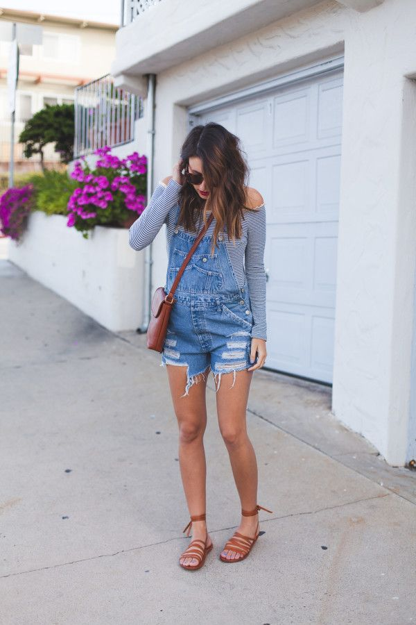 I love this look! Vintage denim overalls paired with ankle tie beek sandals.