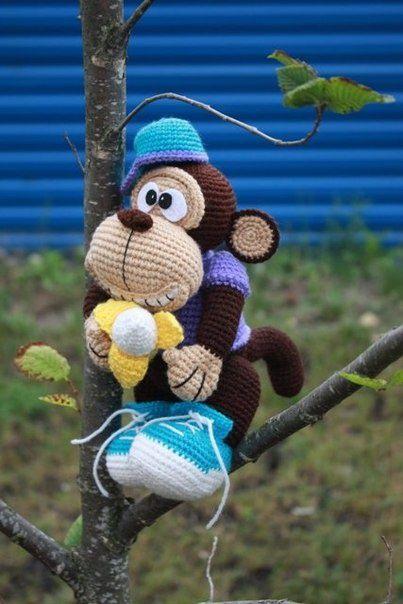 Вяжем крючком обезьянку 'Манки'. Авторская игрушка и мастер-класс от Стейси