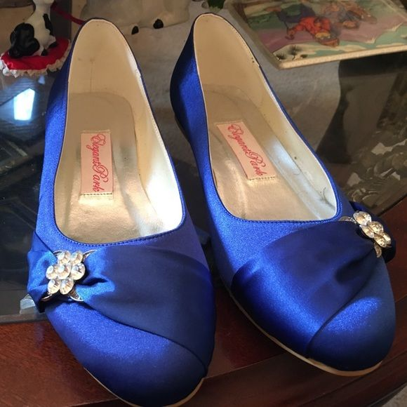 Royal blue shoes Royal blue dress shoe w/ rhinestone they say 10 but fit like a nine Shoes Flats & Loafers