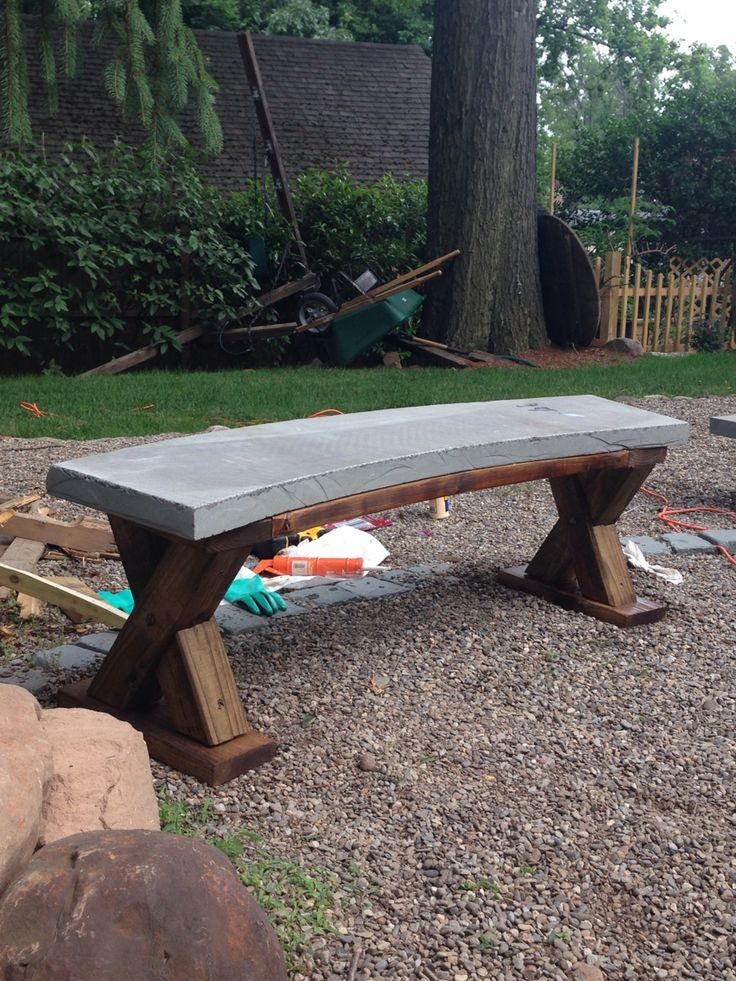 One Of 2 Garden Benches Blue Stone And Pressure Treated Wood Summer 39 15 Weekend Projects