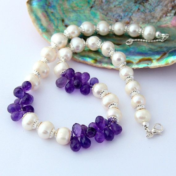 Natural Pearl and Amethyst Necklace Gemstone Beaded by Fagiano