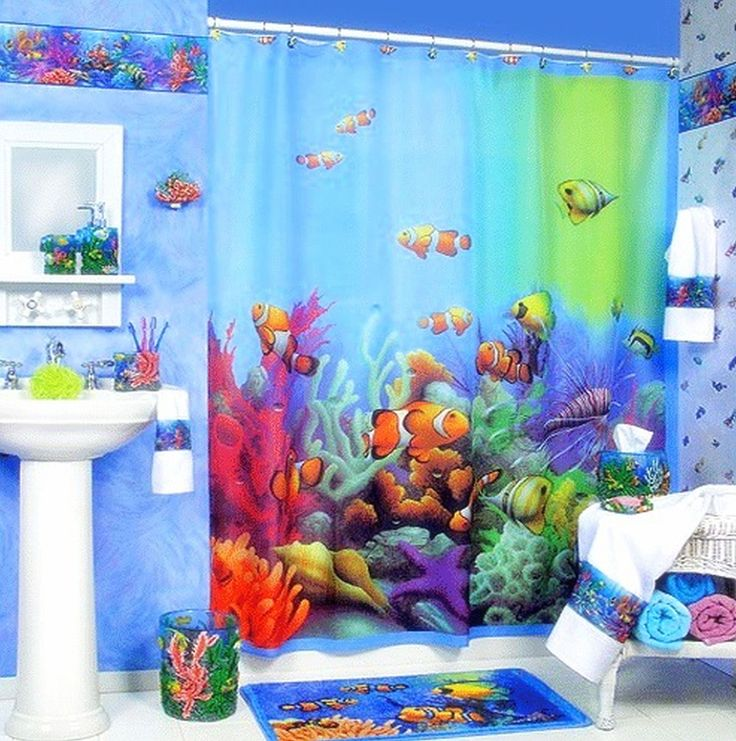 Funny Kids Bathroom Ideas with Sweet Curtain Decoration and Blue Wall Paint Color and Minimalist Washbasin also Smart Wall Decal Idea and Colorful Towels