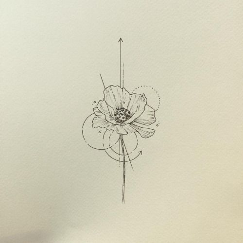 Poppy tattoo, I would get something super minimalist like this minus all the arrows and such surrounding it