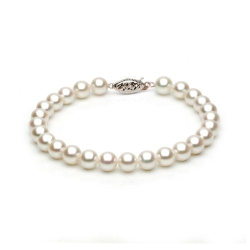 14k White Gold 6-6.5mm White Akoya Saltwater Cultured Pearl Bracelet AA+ Quality, 7 Inch Unique Pearl. $119.95. Save 75%!
