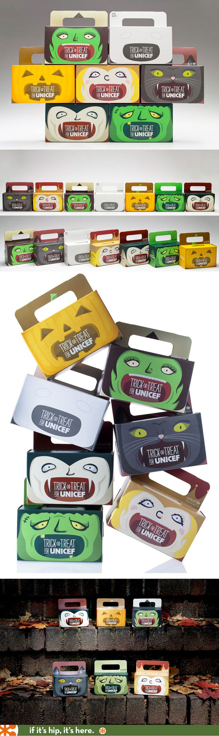 These six Unicef Trick or Treat character boxes were designed in 2012. I love them, but sadly they've changed them to Peanuts boxes this year to promote the Peanuts movie.
