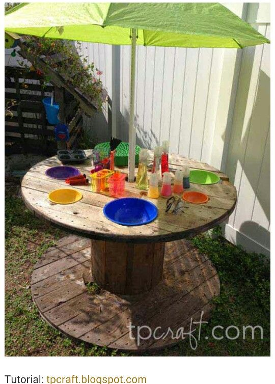 Kids picnic table from wooden spool...just add umbrella!