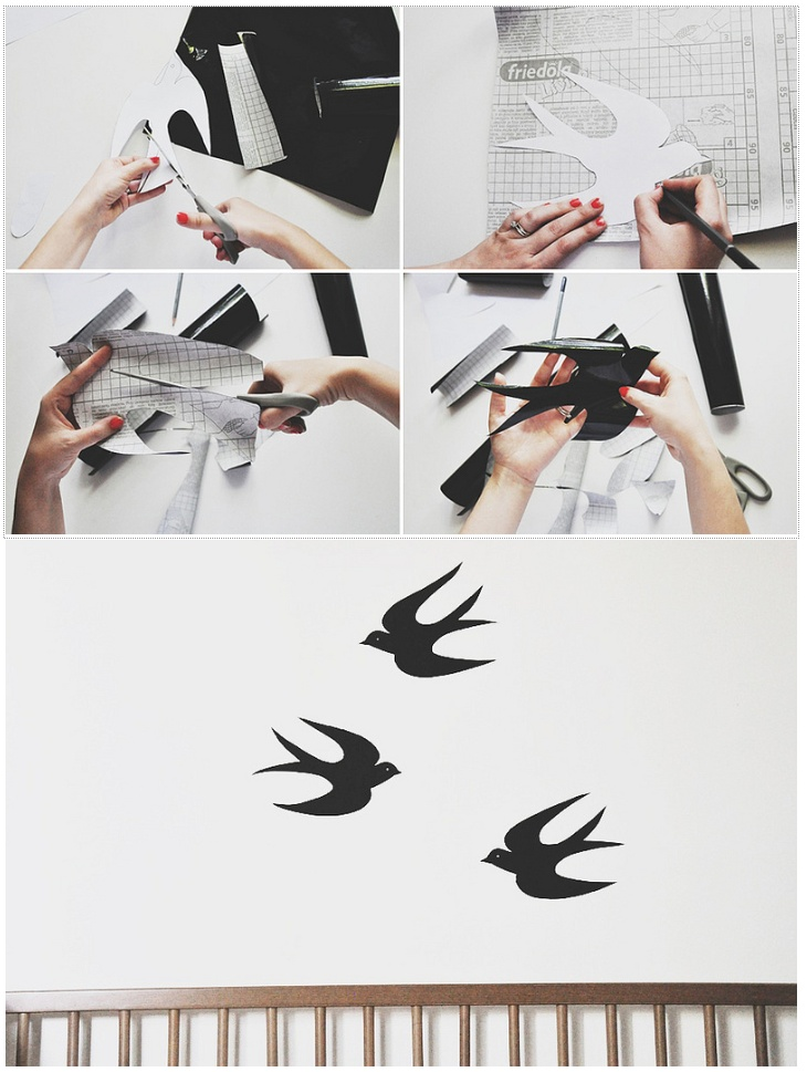 DIY swallow stickers with free printable // by Oana Befort