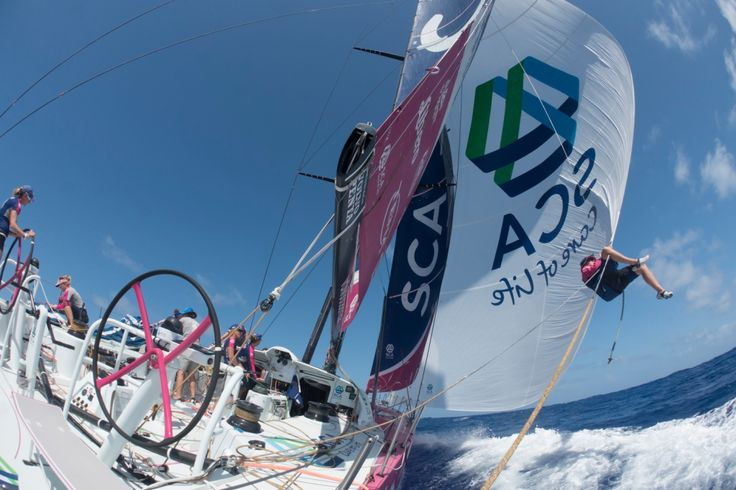 May 3, 2015. Leg 6 to Newport onboard Team SCA. Day 14. Stacey Jackson puts a second sheet on the A Corinna Halloran / Team SCA / Volvo Ocean Race
