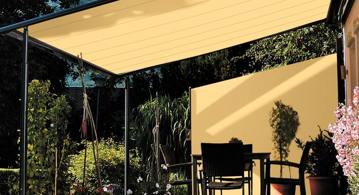 A whole new level of of shade and privacy - Sun awning with sun screen.