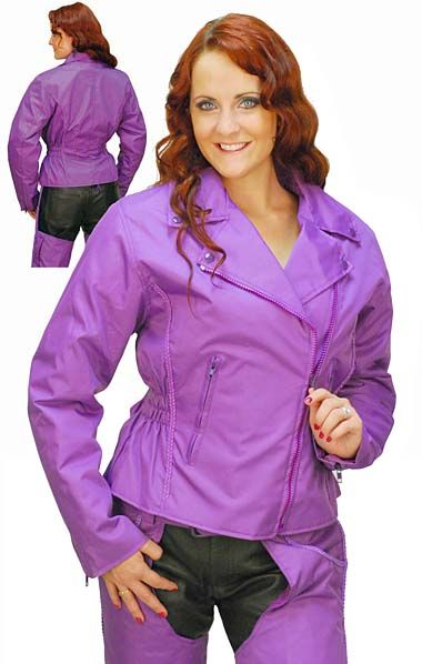Purple Motorcycle Jacket with Vents and Armor and matching purple leather chaps.