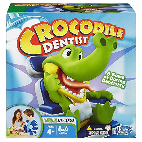 Elefun & Friends Crocodile Dentist Game - Watch out for the cranky croc's champers! this hilarious crocodile dentist game challenges you to watch out for silly jock croc's sore tooth. When you press down on a tooth, he'll chomp if it's sore! you lose if he chomps you, but if your daring dentistry is better than anyone else's, you'll win!...