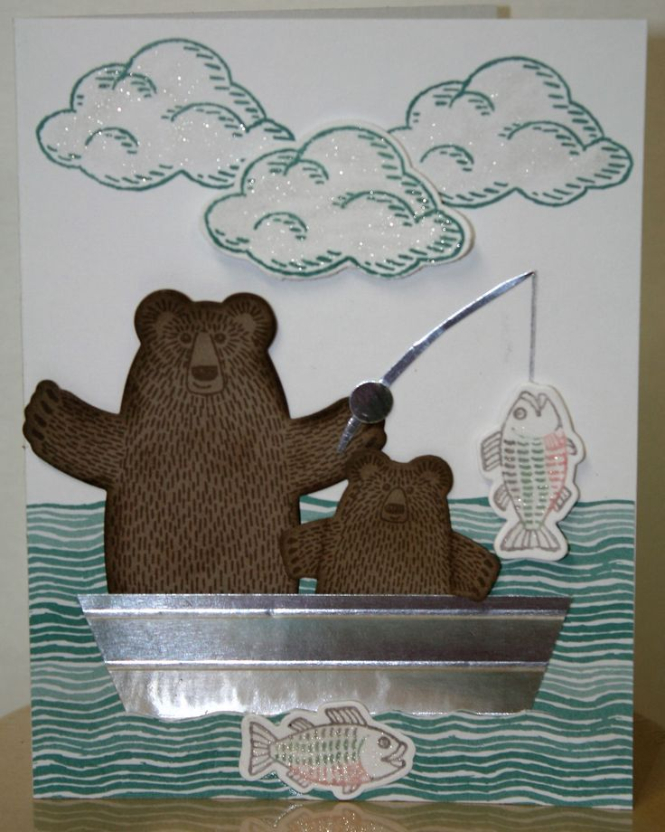 Front view of Another card made from the Bear Hugs Bundle by Stampin Up. Also used was the Sprinkles of Life stamp set and the matching punch.