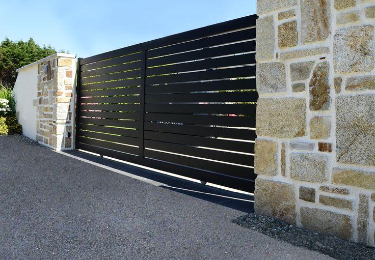 Trez - Portail coulissant en Aluminium Contemporain Klosea
