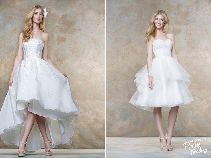 Romantic and chic Ellis Bridal short bridal gowns!