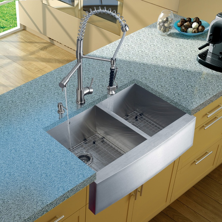 The Vigo 33 In. Double Bowl Farmhouse Stainless Steel Kitchen Sink, Faucet,  Two Strainers And Dispenser Is Constructed Of Solid Brass With Stainless  Steel ...
