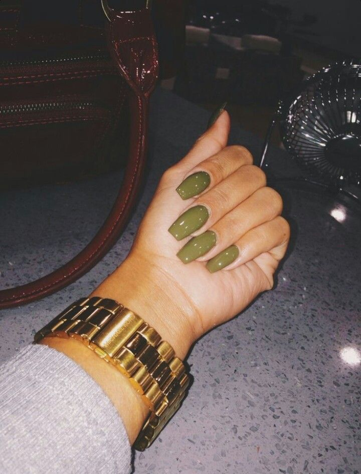 Olive Green Square Tip Acrylic Nails Nails 2 Green