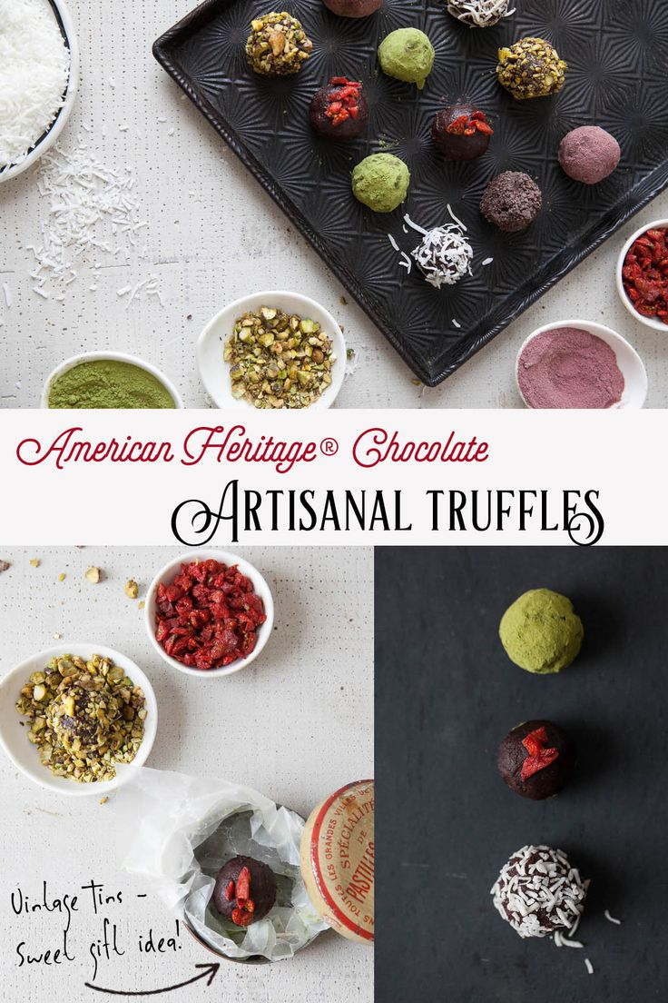 The ultimate party favor: Super Truffles! Goji Berry, Matcha, Acai, Coconut and Pistachio Truffles made with AMERICAN HERITAGE® Chocolate Finely Grated Drink Mix and Chocolate Block bring a refreshing twist to a time-honored favorite. Want to impress family and friends? Serve them up in a vintage tin!