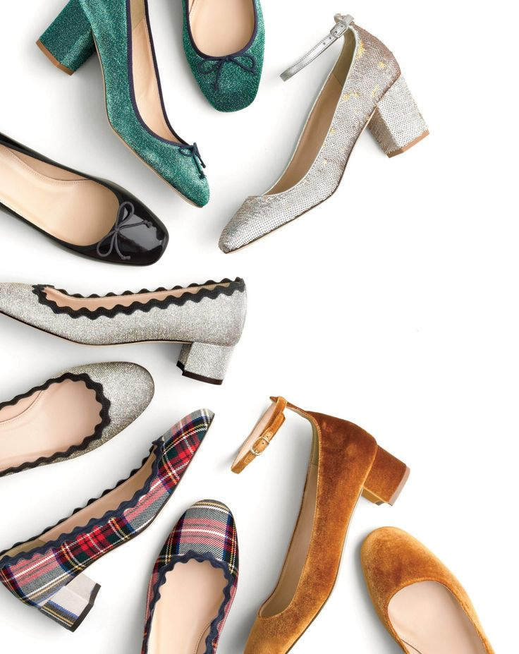 J.Crew shiny ponies. Sparkly glitter, lush velvet, lots of tartan… Because even standing in line at the post office can be festive in a pair of Italian-made shoes.