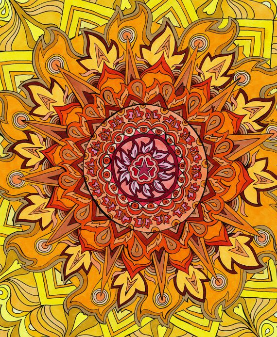 Revelation Mandala Print Psychedelic Red by PaintMyWorldRainbow, $15.00