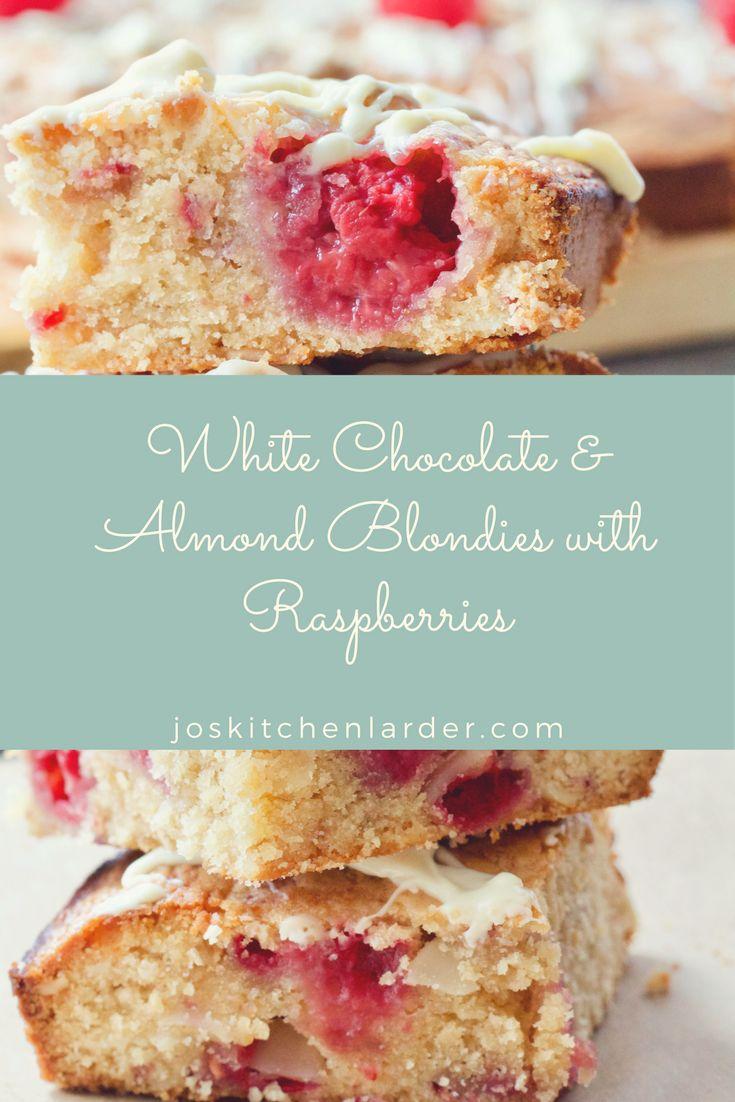 White Chocolate Almond Blondie with Raspberries
