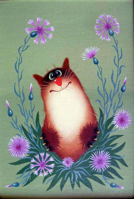 Открытка с котиками нарисованными