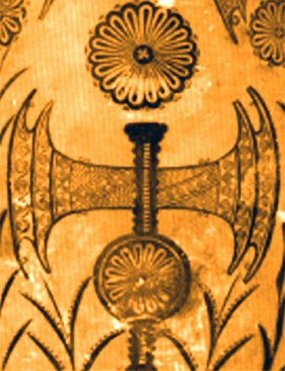 Scure bipenne minoica; II millennio a.C.; dipinto; sito archeologico di Cnosso.