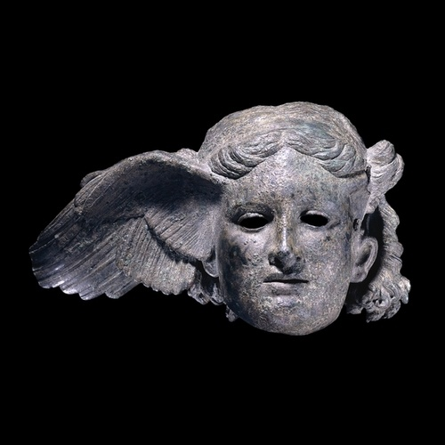 """Bronze head of Hypnos, the god of sleep, 1st-2nd century AD; Possibly Roman copy of a Hellenistic original, found at Civitella d'Arno, near Perugia, Italy. """"Hypnos first appears in mythology in the works of one of the earliest Greek poets, Hesiod (lived around 700 BC), where Hypnos (Sleep) and Thanatos (Death) were the terrible sons of Nyx (Night). Hypnos was, however, generally viewed as benevolent to mankind. His son was Morpheus, the personification of dreams."""" -The British History Museum"""