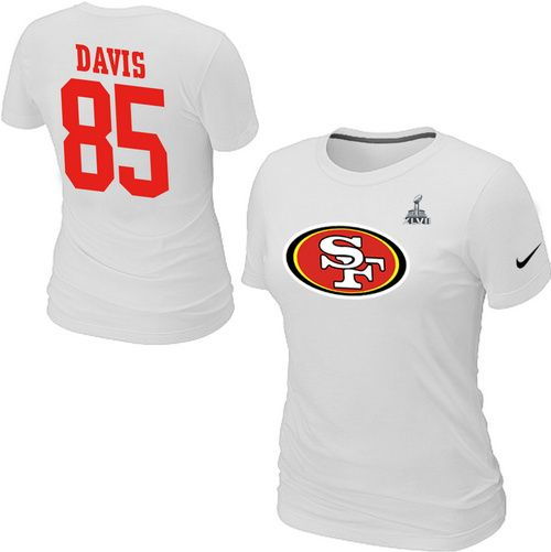Nike San Francisco 49ers 85 Vernon Davis Name & Number Super Bowl XLVII Women's TShirt White