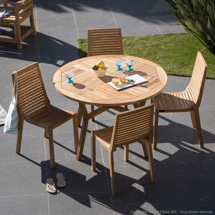 salon de jardin 4 places en teck brut 1 table ronde 120cm 4 chaises - Salon De Jardin Mtal Color