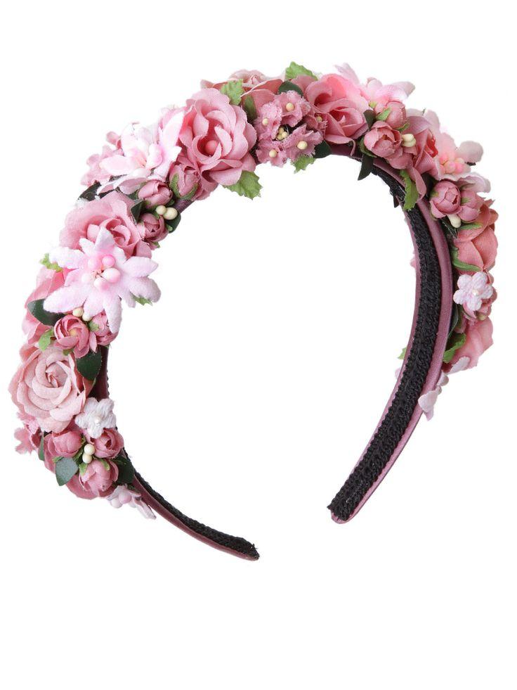 """Blumenhaarband, Blumenkranz, Hair, Frisur, Haarreifen - Rosa, Weiß und ein bisschen Grün geben den Ton beim Modell """"Rosalie"""" an."""