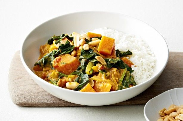 African vegetable stew with sweet potato and peanuts main image