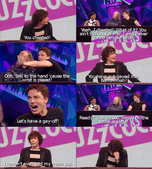 Simon Amstell and John Barrowman: Gay-off. Never mind the Buzzcocks.