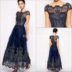 Navy Blue Mother Of The Bride Dresses Designer Sheer Neck Ankle Length Lace Appliques Mothers Dresses For Beach Weddings HH320