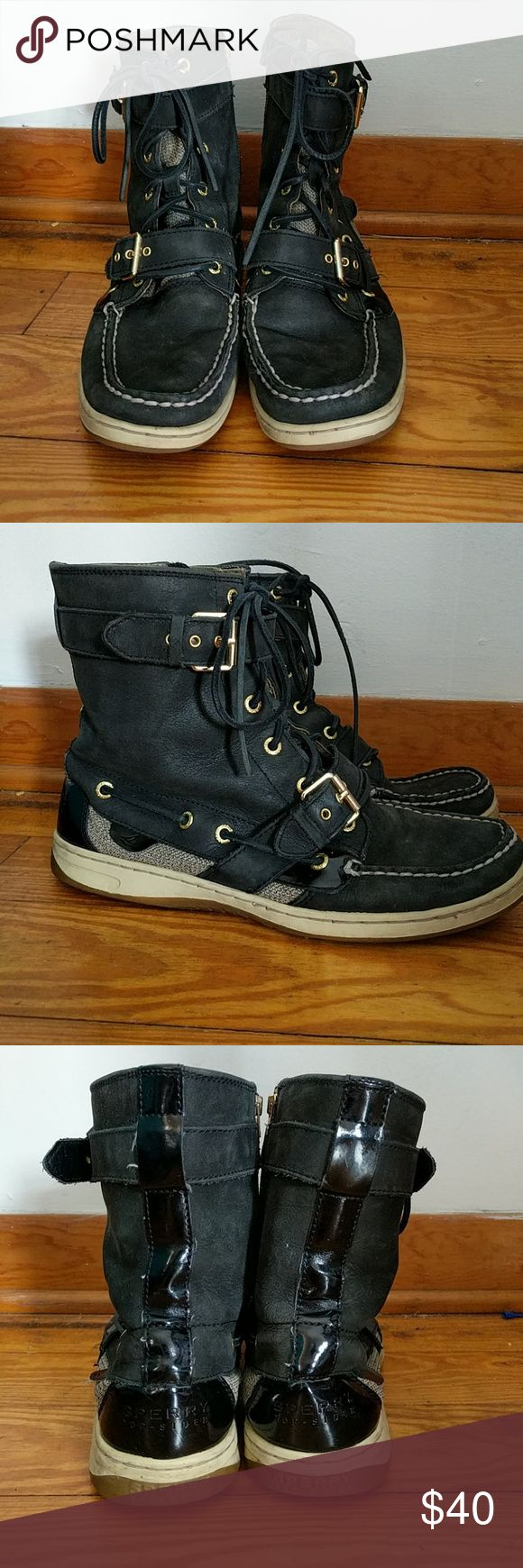 SALE! Black Sperry Combat Boots Comfy combat boots! They are perfect with a pair of jeans! Bundle up! Offers always welcome! Sperry Shoes Combat & Moto Boots